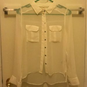 UO Silent Noise Sheer White Blouse